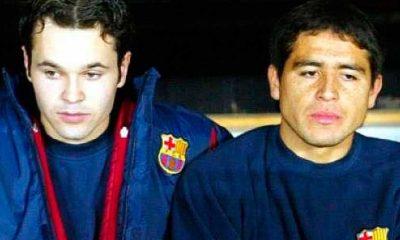 Riquelme e Iniesta coincidieron en el FC Barcelona